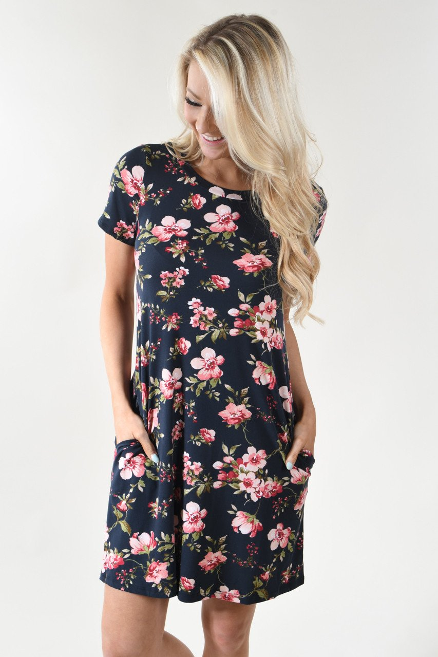 Be My Love Black Floral Dress