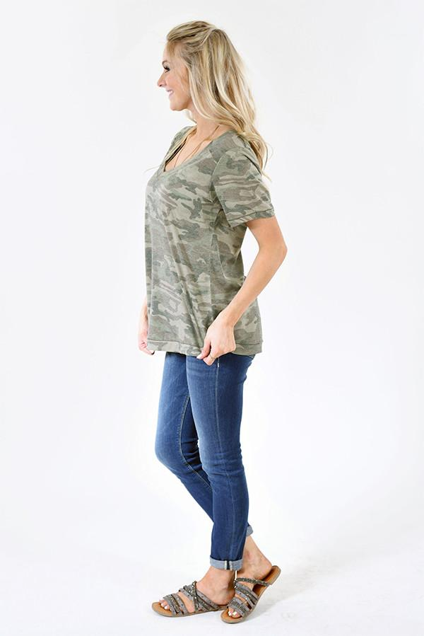 Basic Camo V-Neck Top