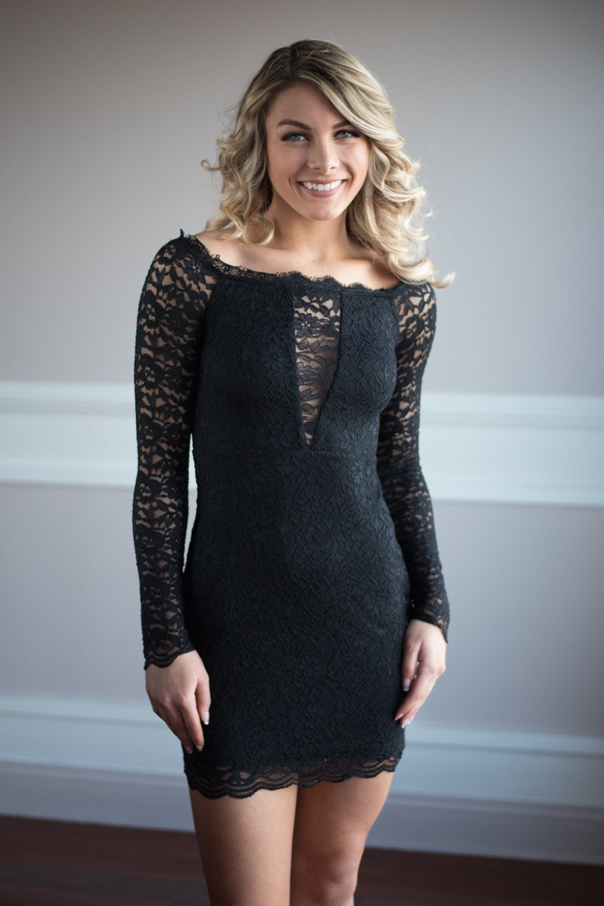 Let the Love Flow Black Lace Off the Shoulder Dress
