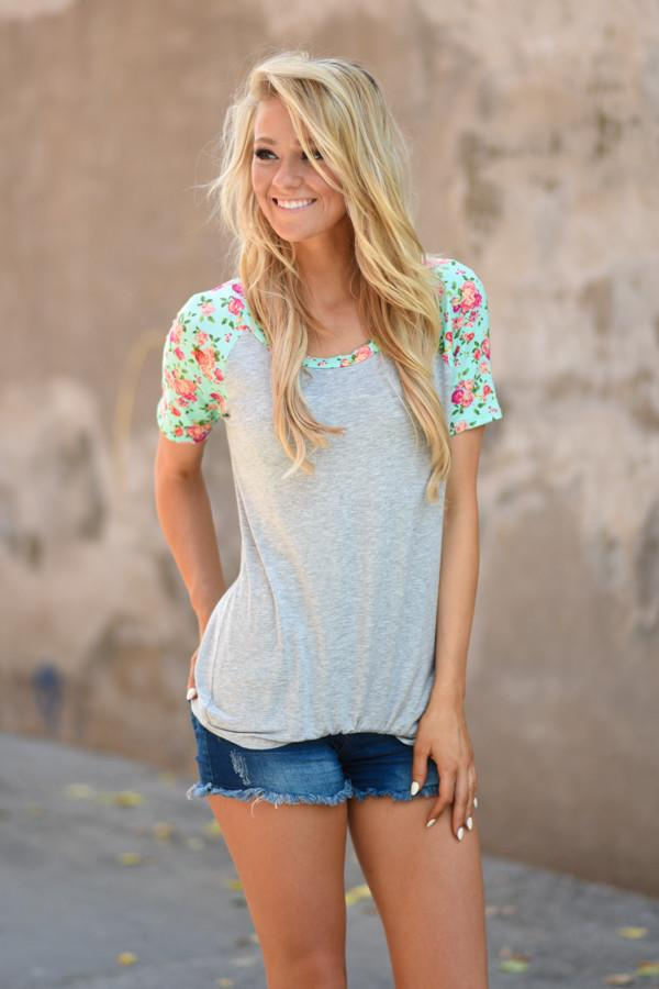 Mint Floral Sleeve Top