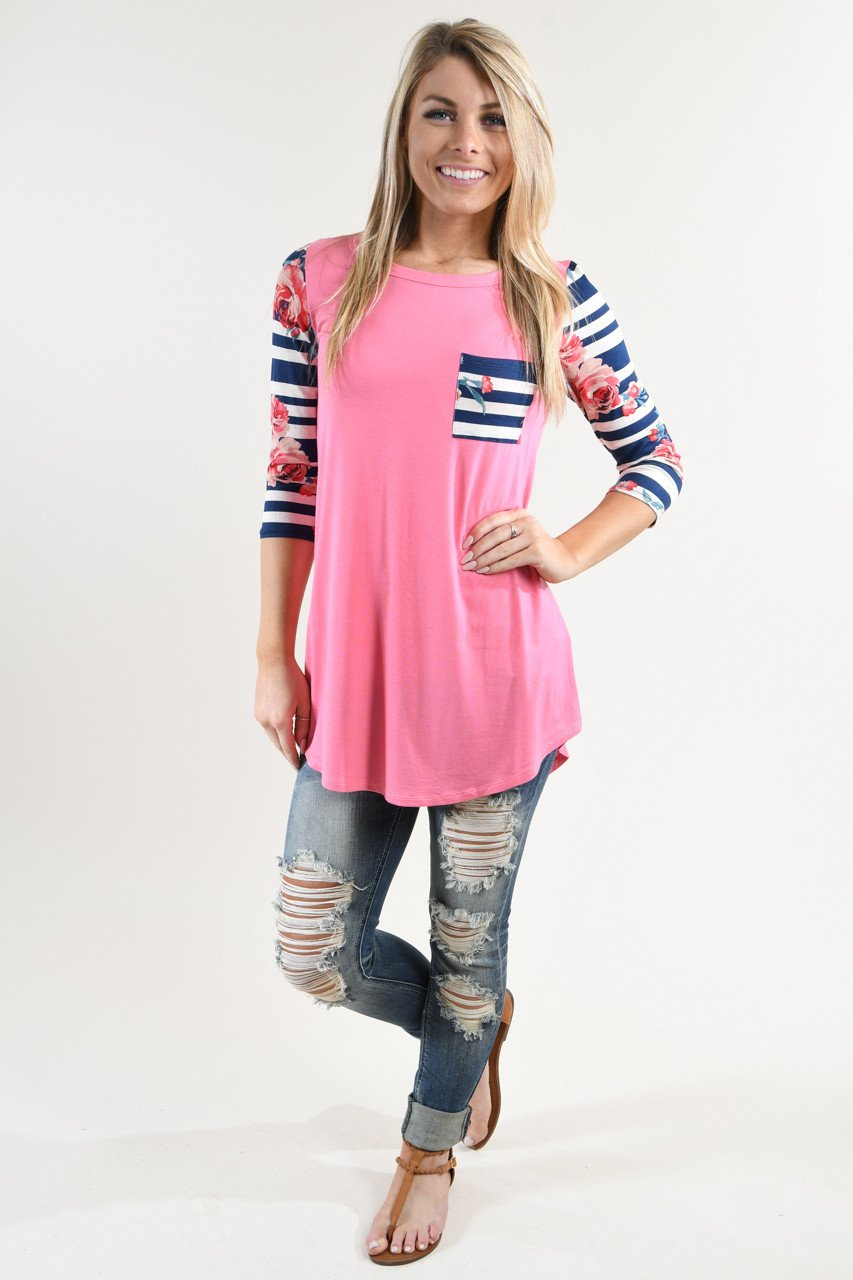 Pink Floral Striped Sleeve Top