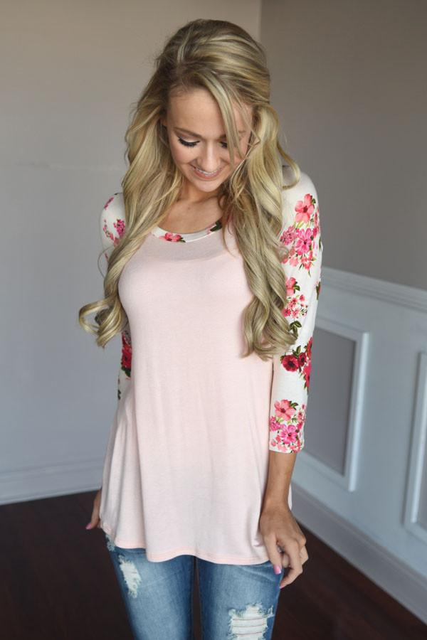 Light Pink Floral Top ~ Red & Pink Sleeves