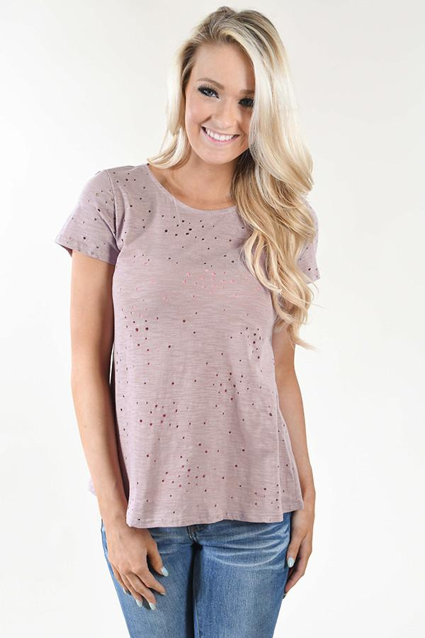 Back Detail Holey Top ~ Lavender