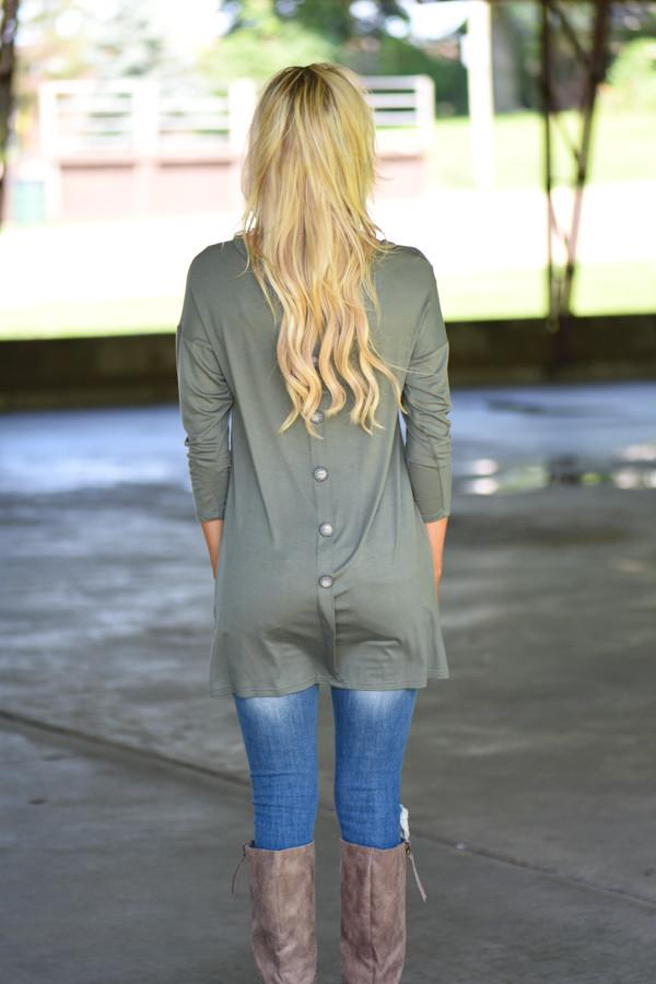 Olive Button Down Pocket Top