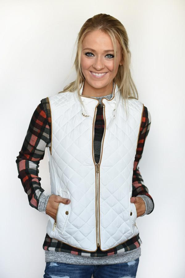 Quilted Vest ~ Ivory