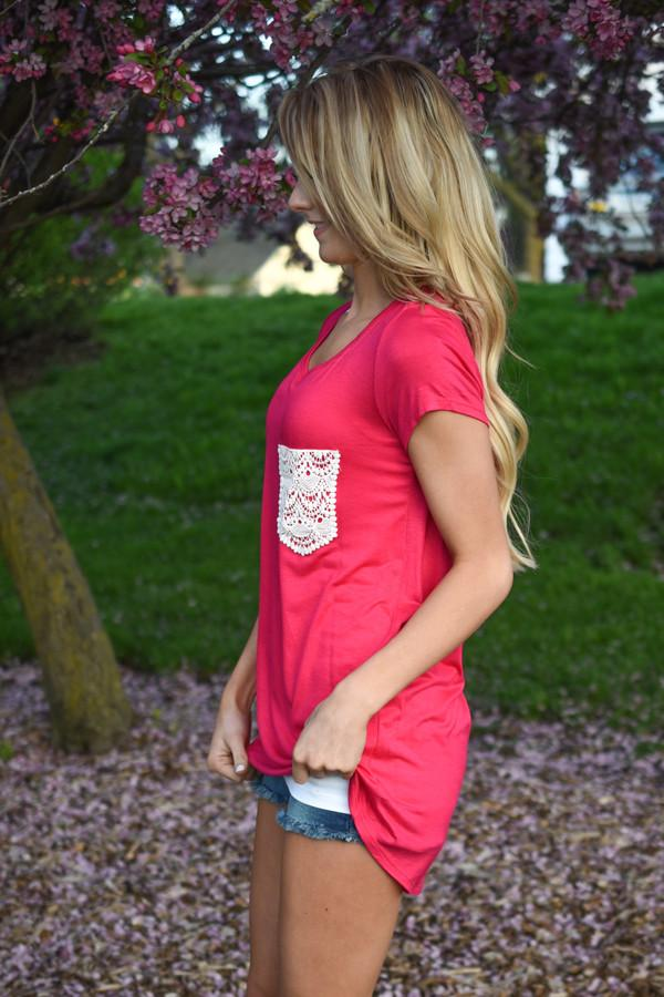 Part of the Plan Pink Pocket Top