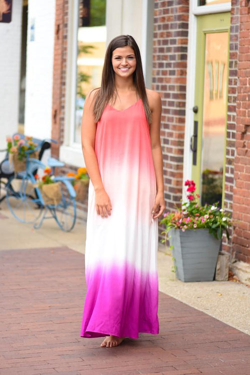 Only Gets Better Ombre Maxi Dress ~ Coral