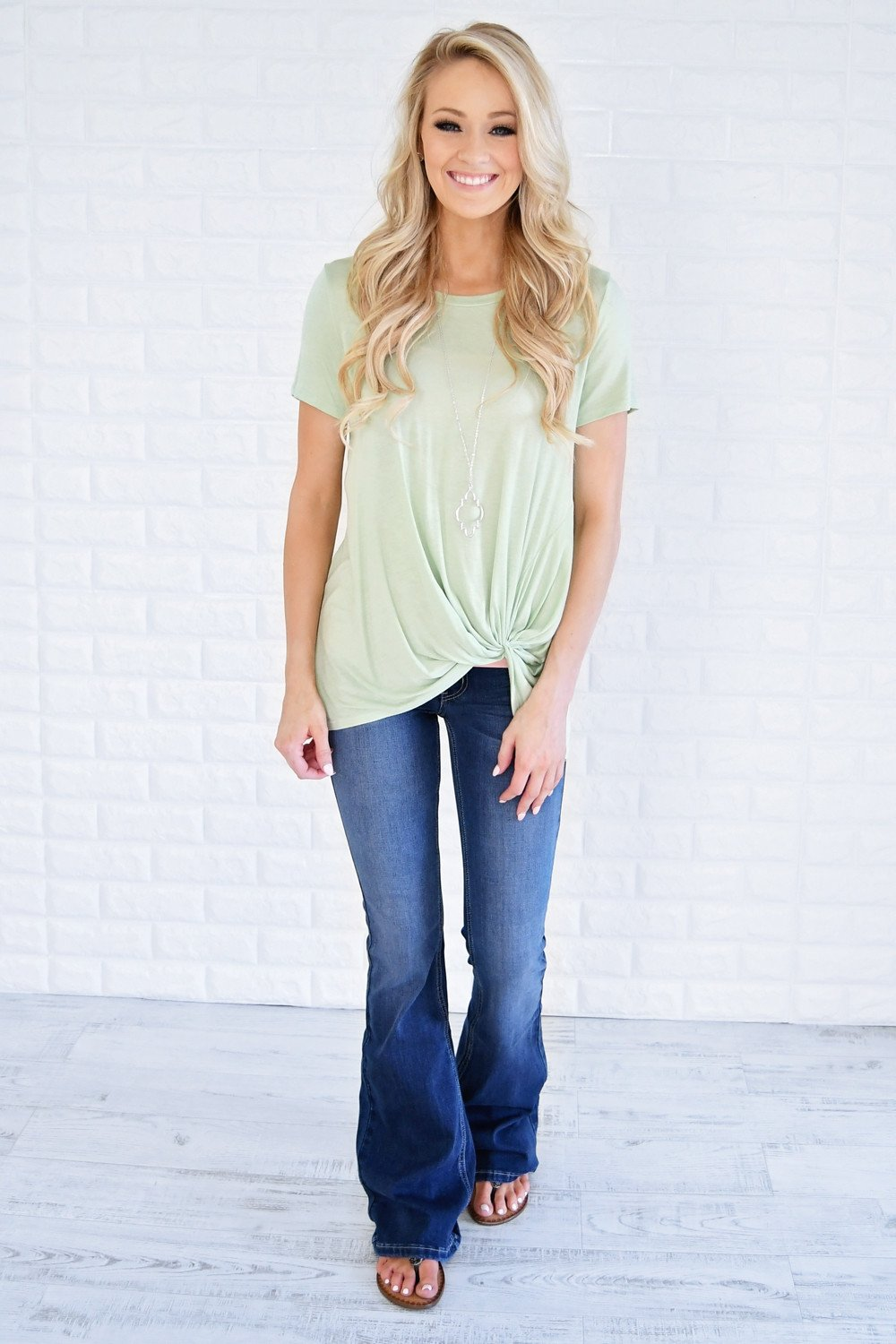 Light Green Knot Top