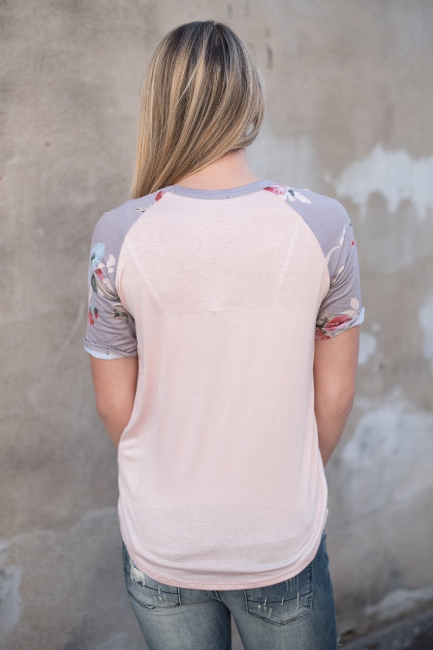 Peach and Grey Floral Sleeve Top