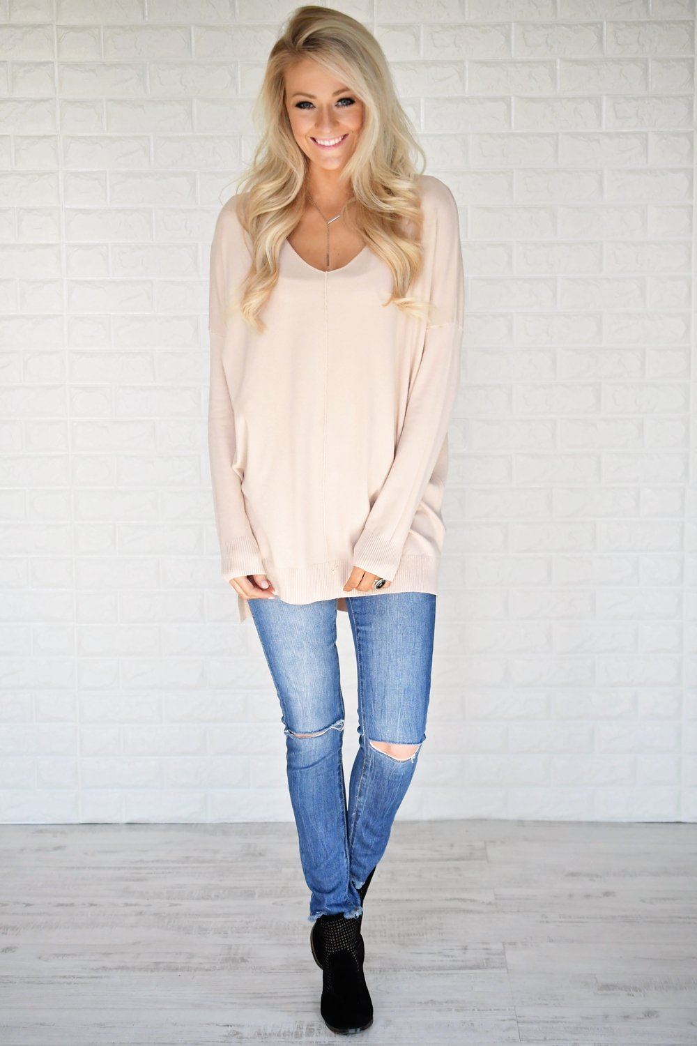Hold On To Me Sweater ~ Blush