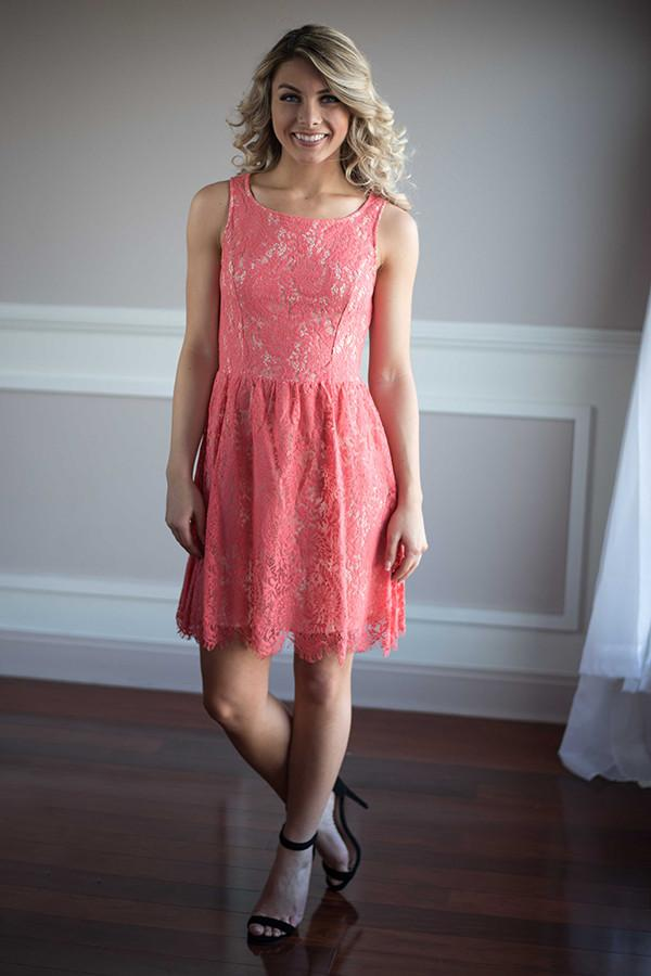 Light Coral Lace Dress