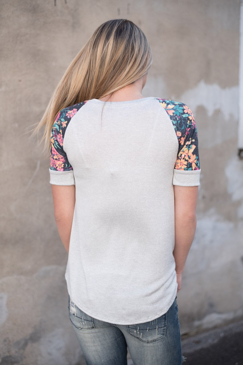 Spend the Day Floral Top Grey