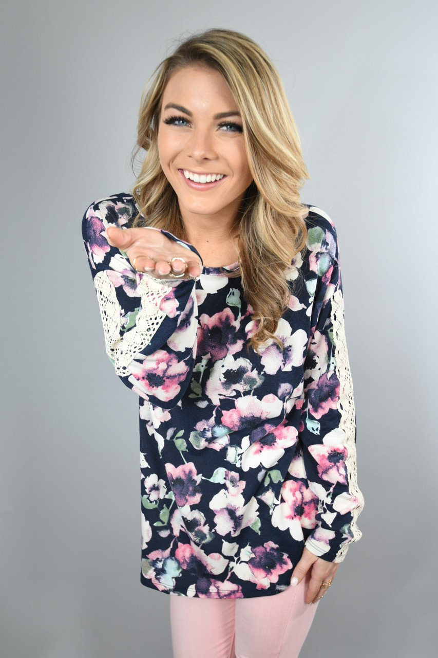 Floral and Lace Navy Long Sleeve Top