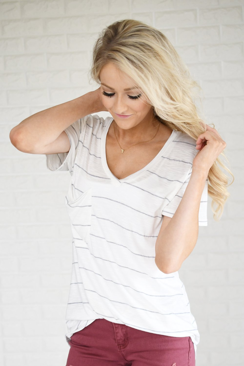 Perfectly Basic White Striped Tee