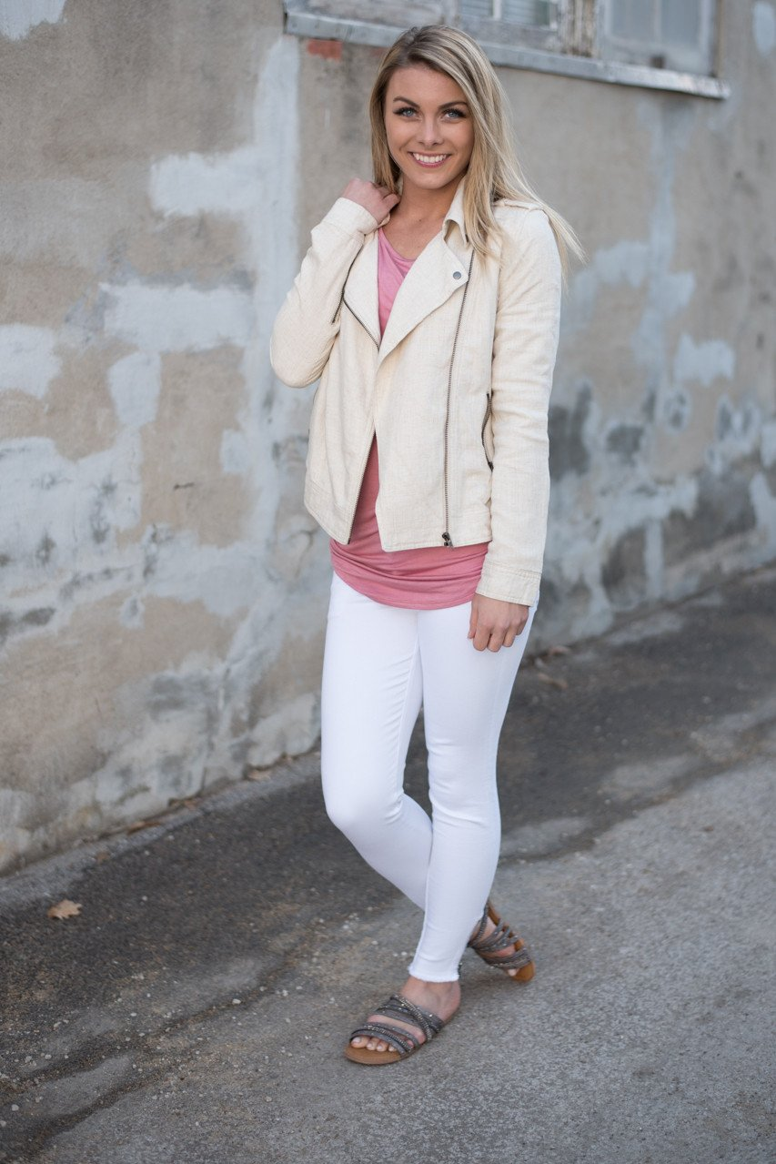 Cream Moto Jacket