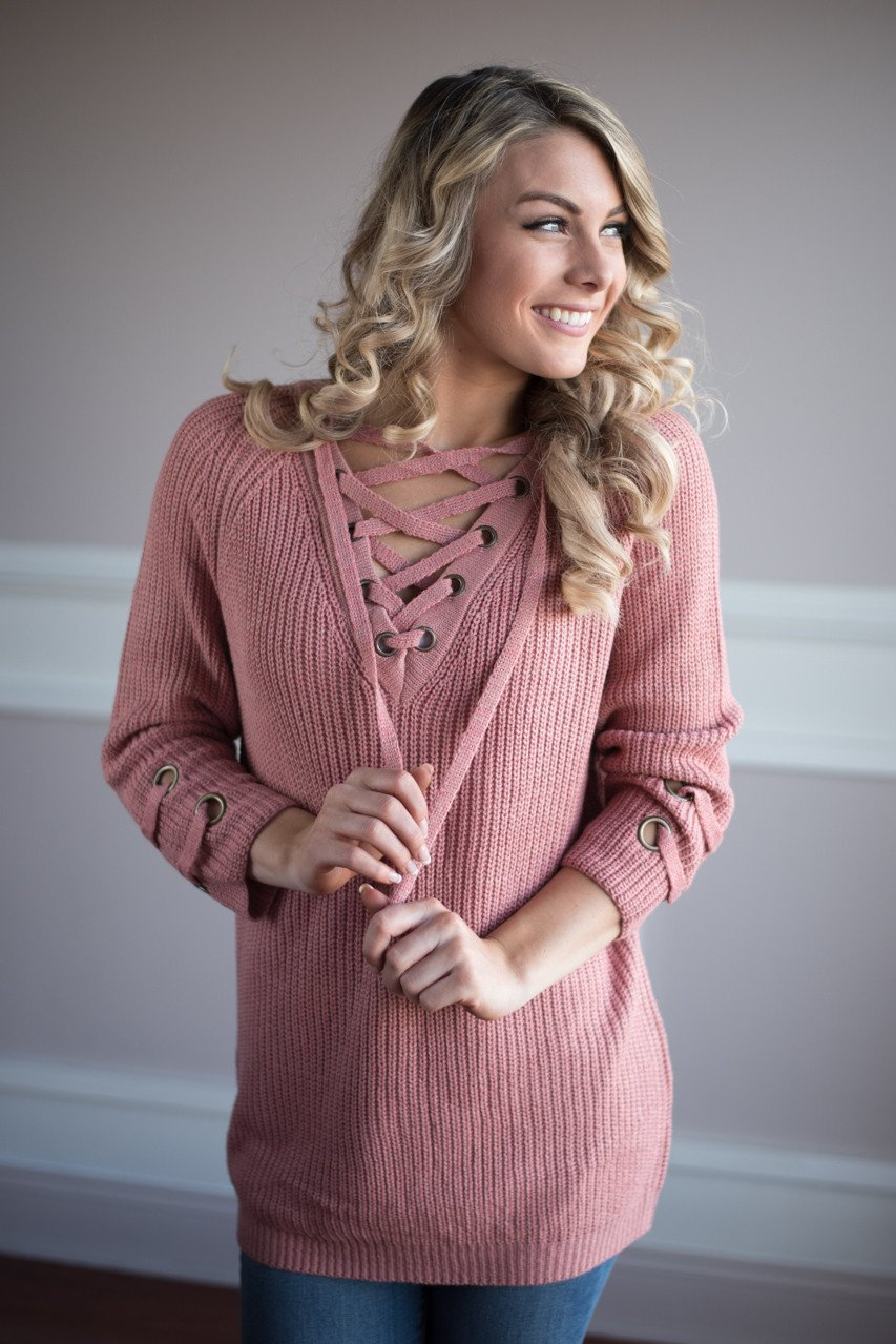 Light Salmon Lace Up Sweater