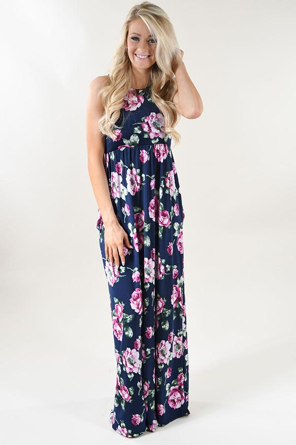 Dark Navy Floral Maxi Dress