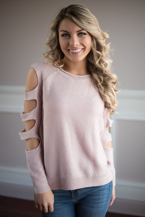 Pink Cut Out Shoulder Top