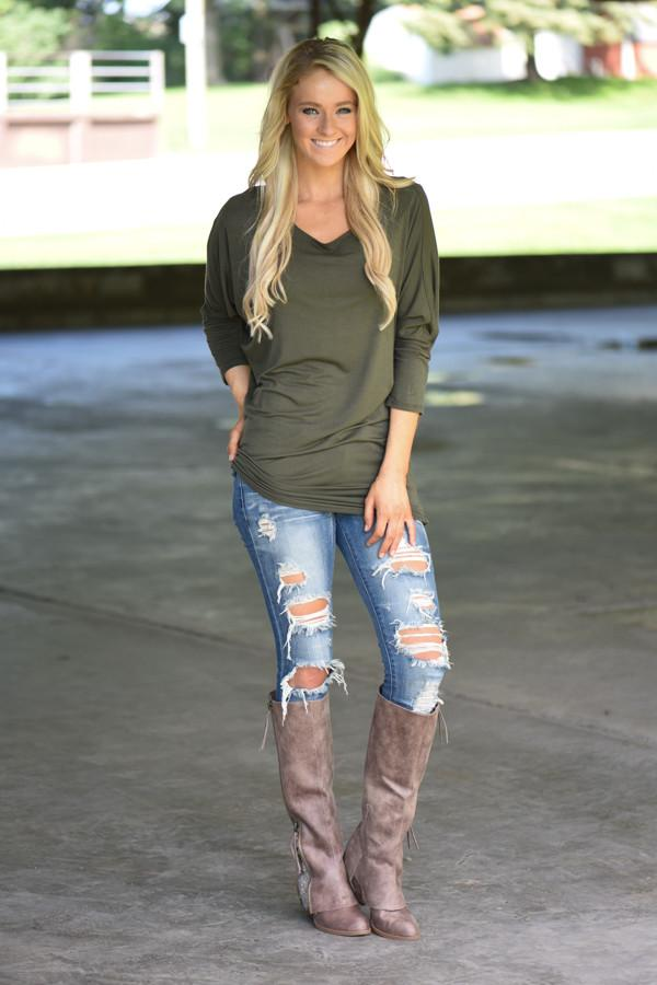 Essential Olive Dolman Top