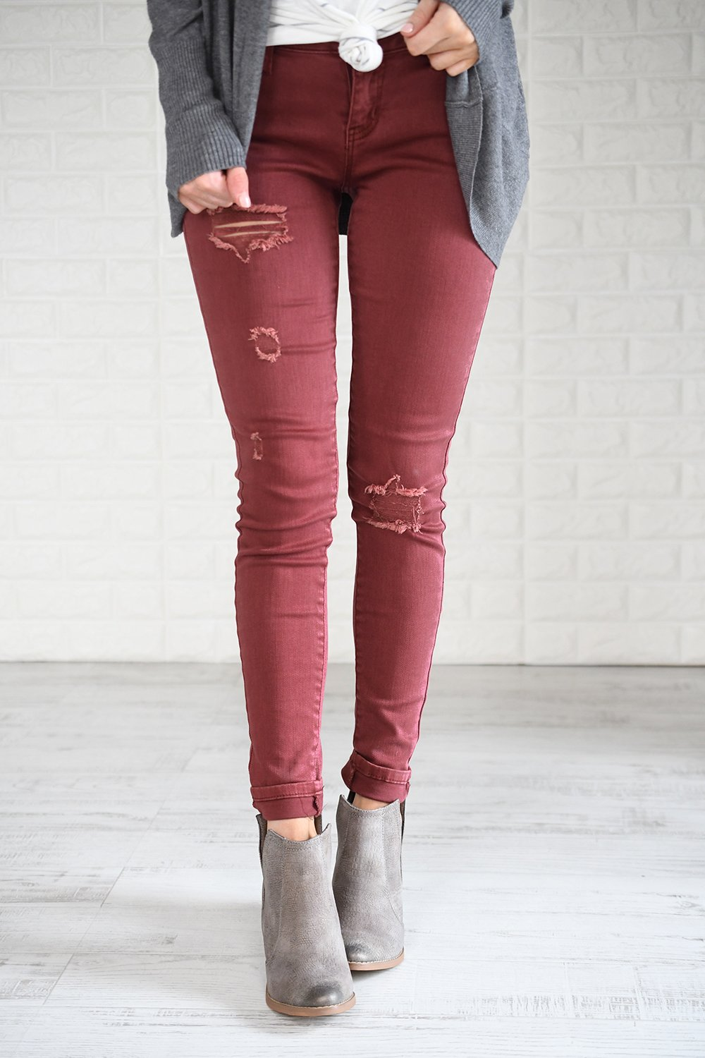 Distressed Burnt Maroon Calypso Pants