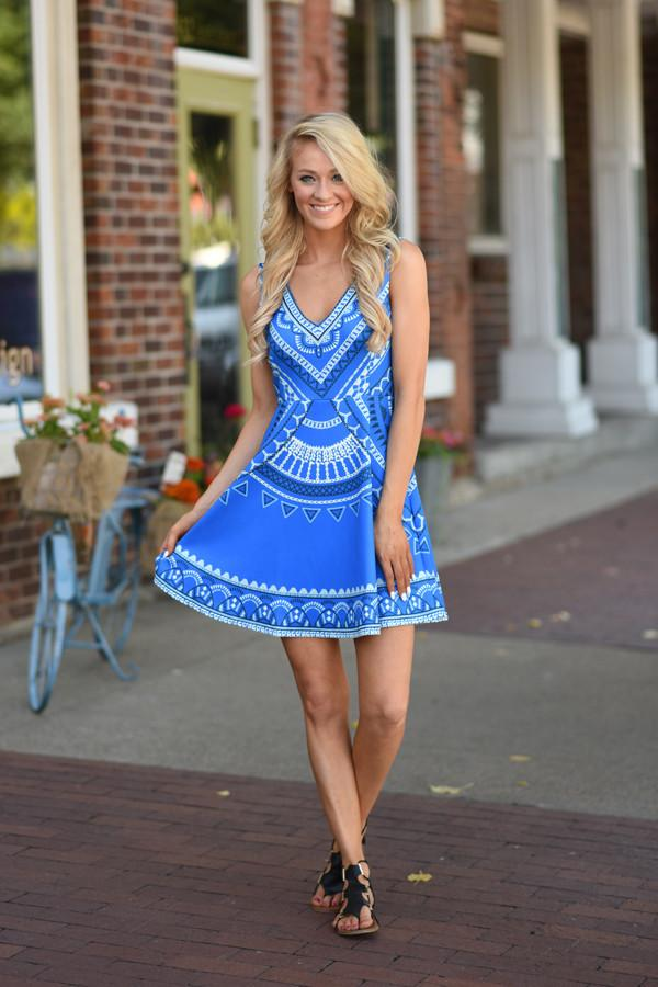 Royal Blue Mid Length Dress