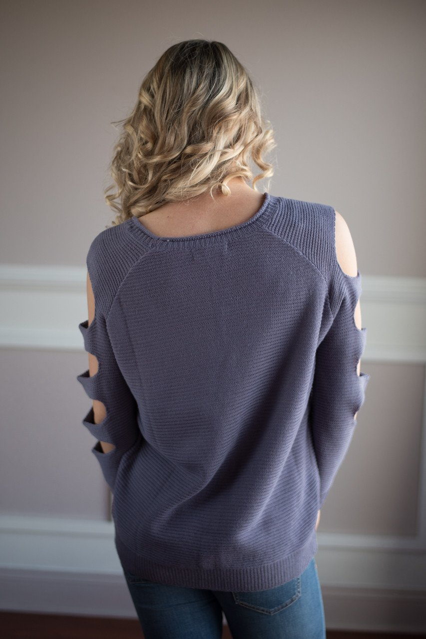 Purple Cut Out Shoulder Top