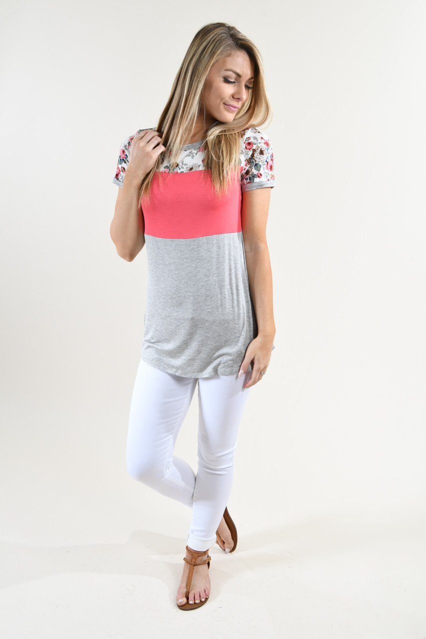 Too Cute to Handle Top ~ Coral