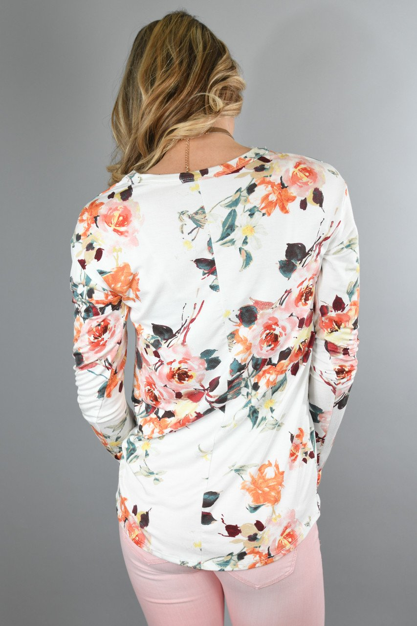 Here Comes the Fun Floral Top ~ Ivory