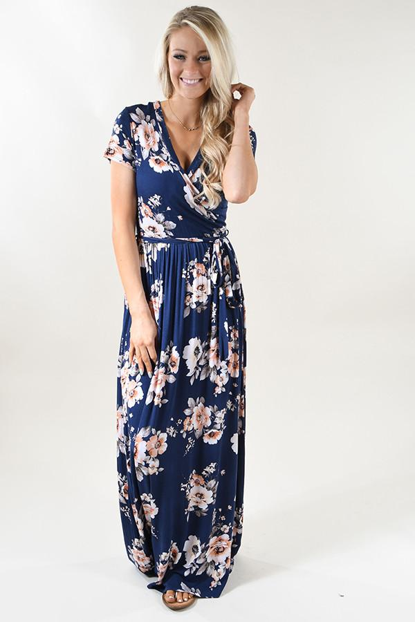 Navy & Coral Floral Maxi Dress