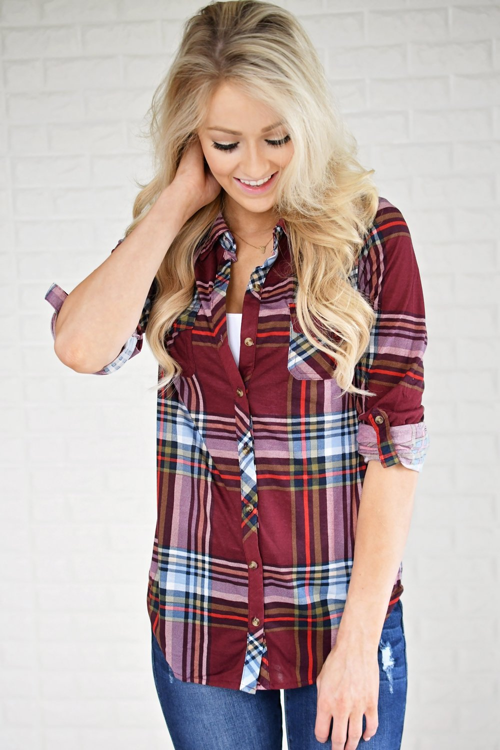 The Essential Plaid Top ~ Burgundy