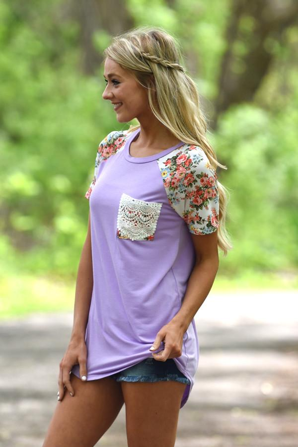 Crochet Pocket Floral Top ~ Purple