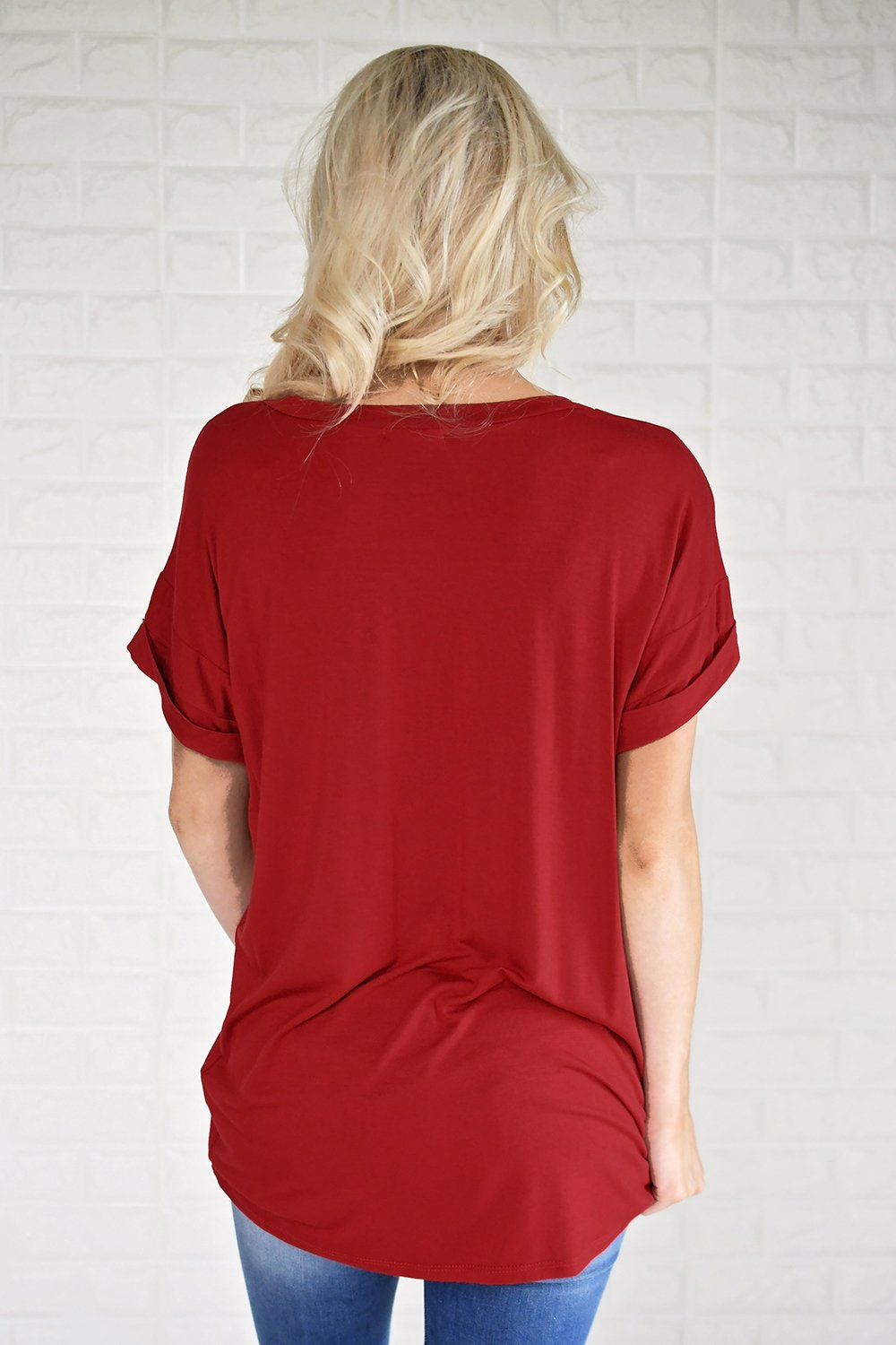 Red V-Neck Pocket Tee
