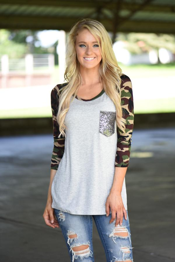 Camo Glam Top ~ Heather Grey