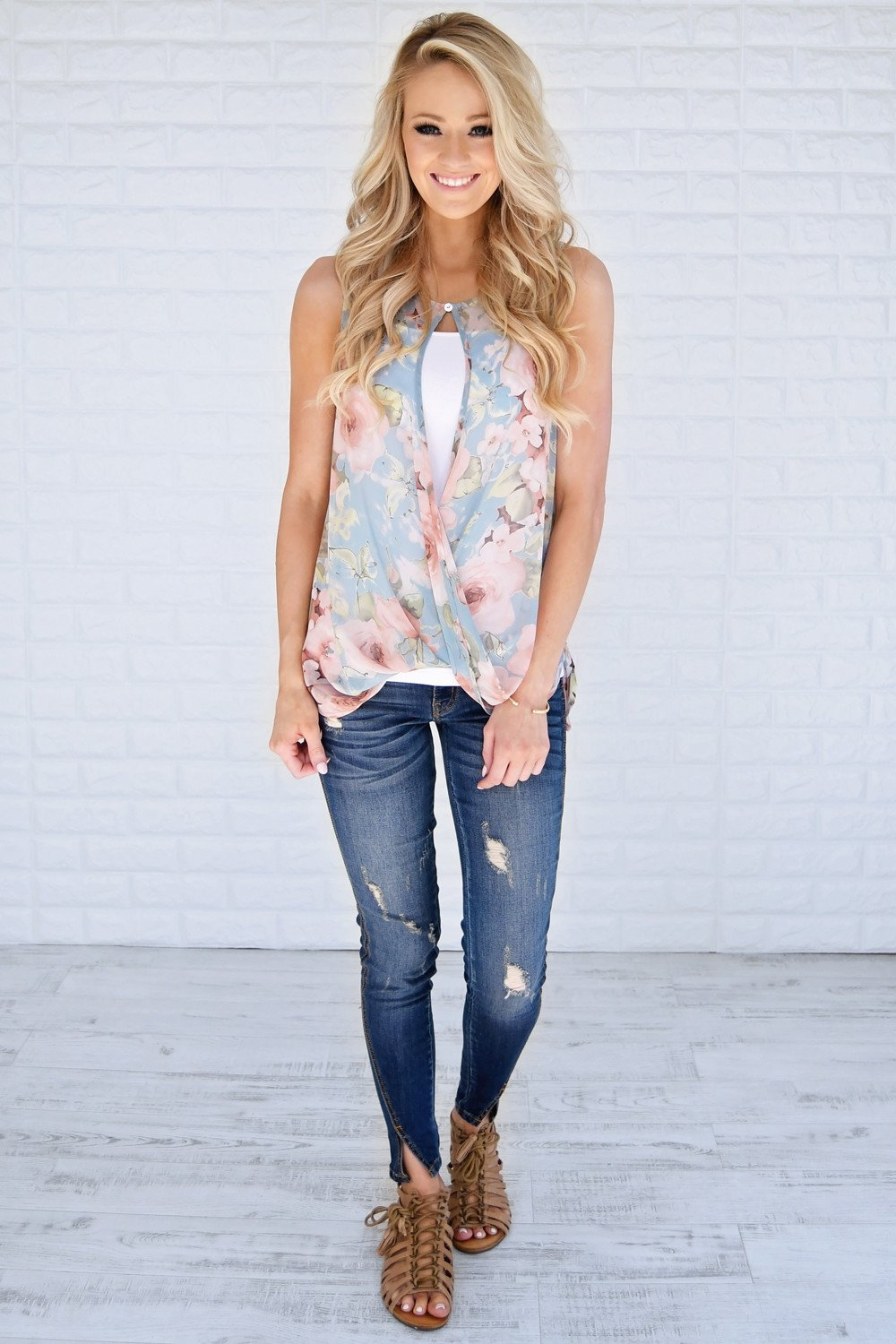 Floral Kisses Crossover Tank Top