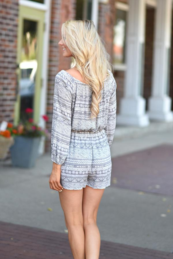 No Regrets Romper ~ Grey