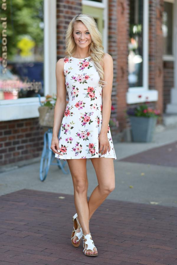 White Floral Mid Length Dress
