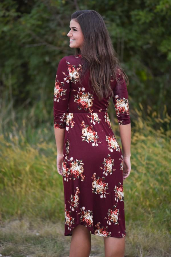 One Track Heart Dress ~ Burgundy