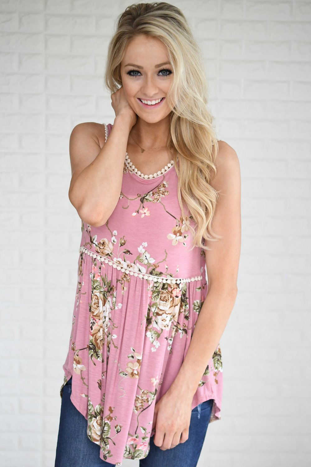 By Your Side Floral Babydoll Tank Top
