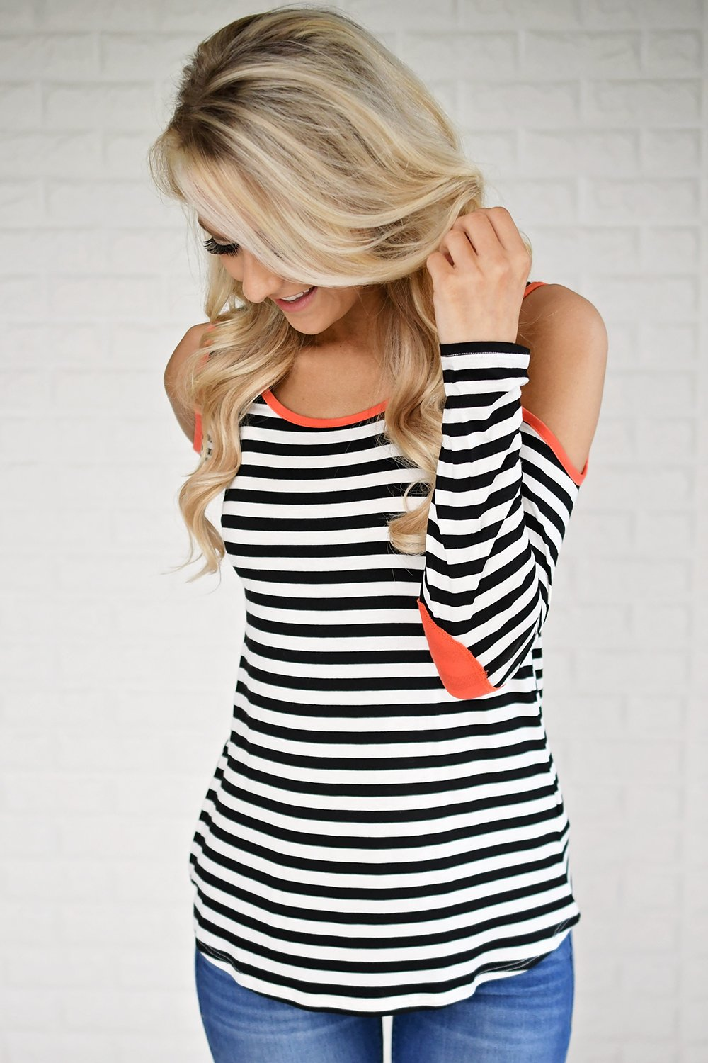 Neon & Stripes Cold Shoulder Top
