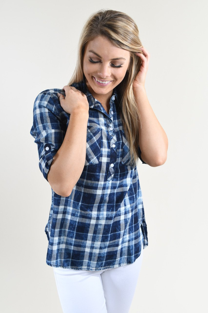 Never Blue Button Distressed Top