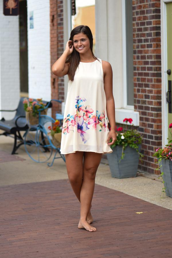Only a Dream Floral Dress ~ Cream