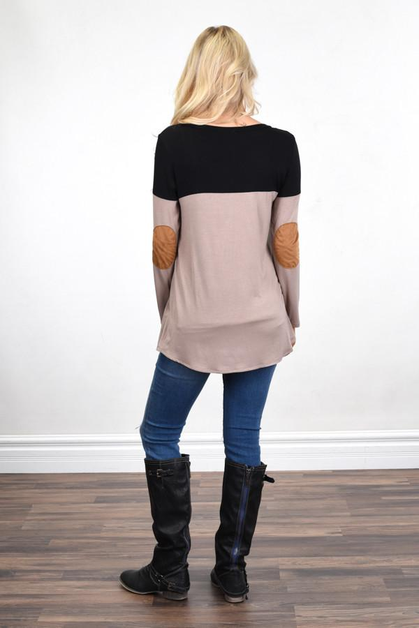 Suede Pocket Top ~ Brown