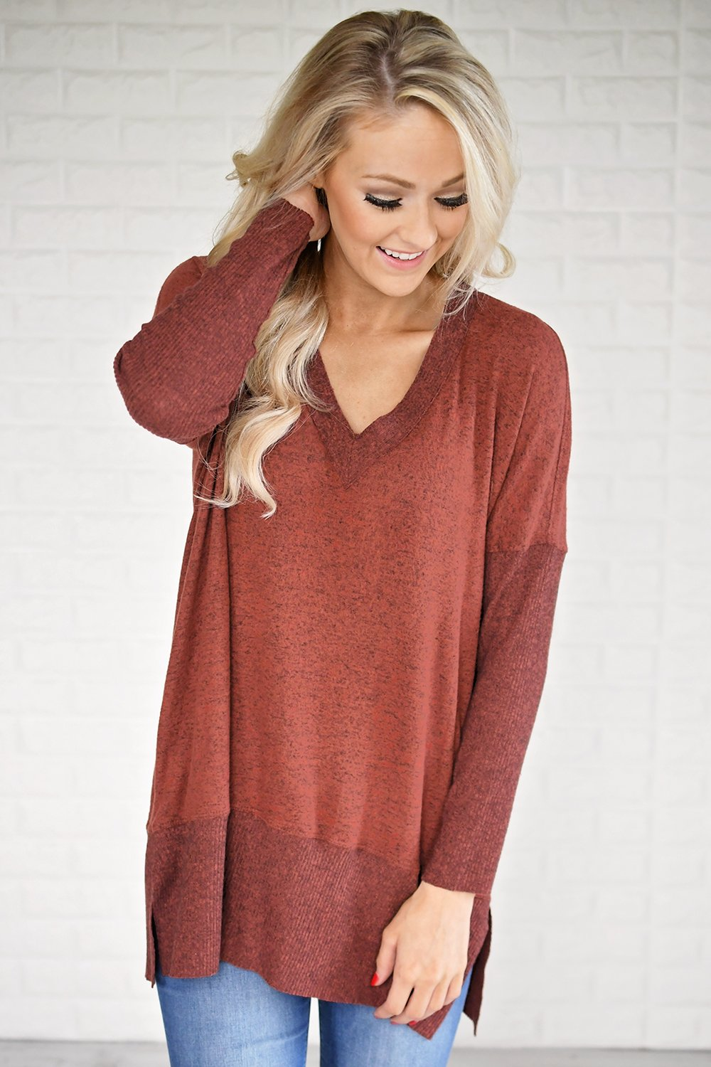 Feeling Cozy V-Neck Top ~ Rust
