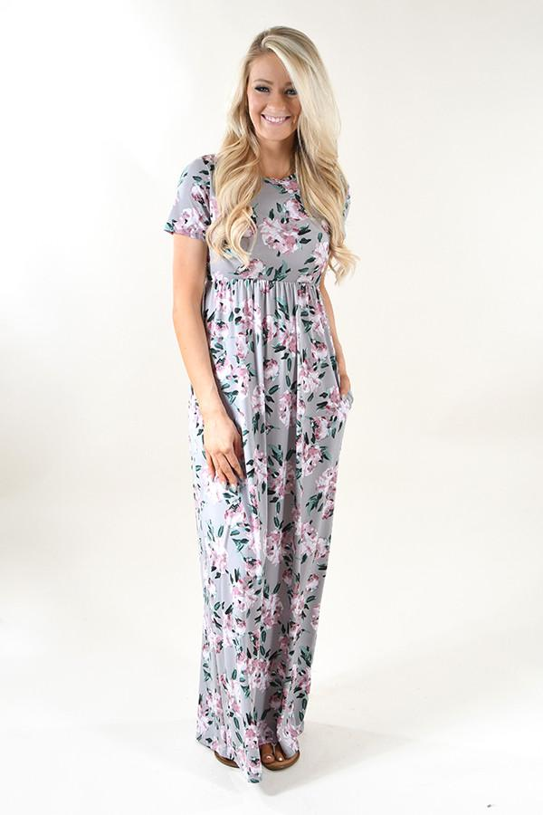 Silver Dreams Floral Maxi Dress