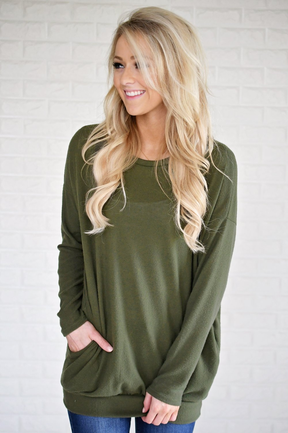 Snuggle Me Tunic Top ~ Olive