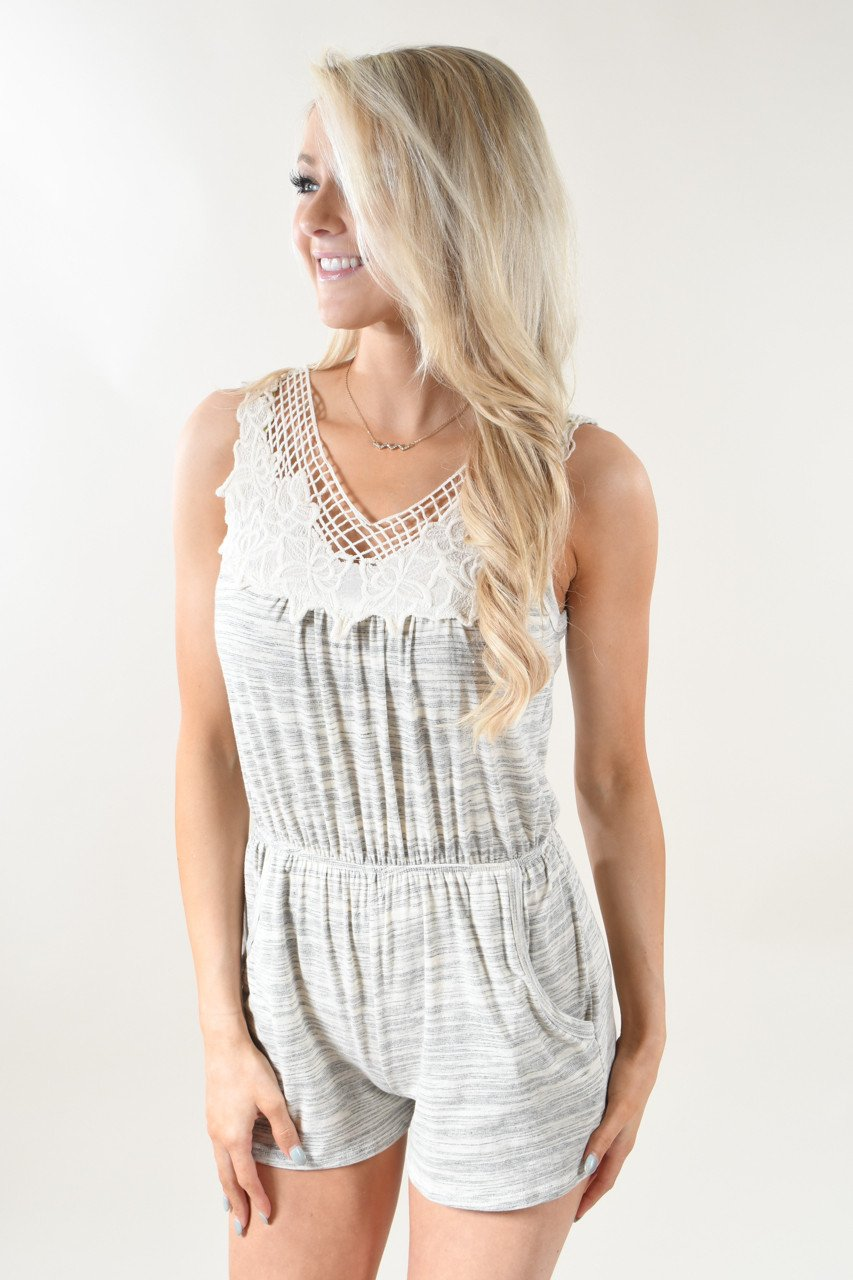 Heather Grey Lace Romper