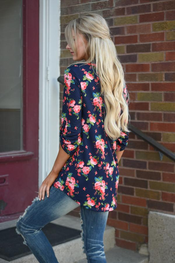 Floral Blouse ~ Navy