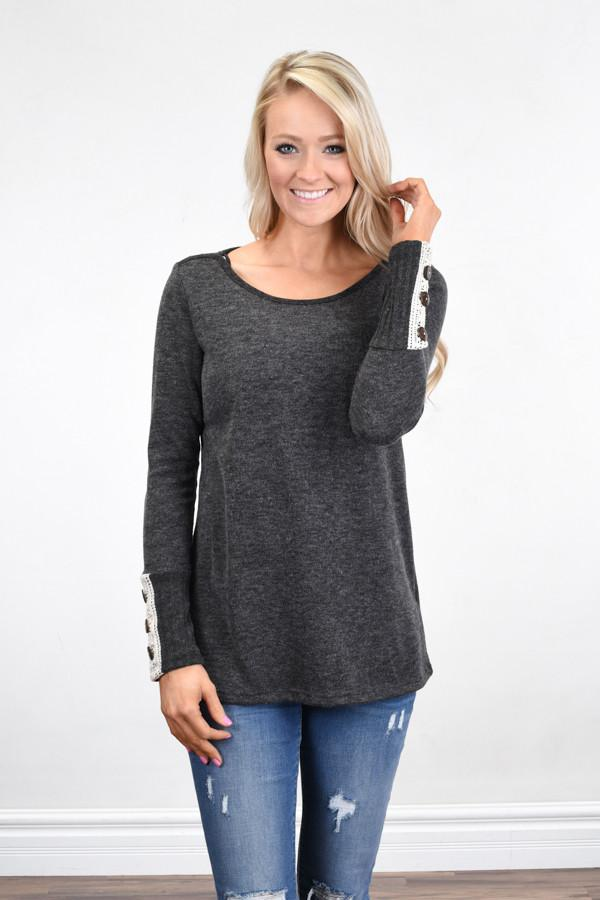 Button Sleeve Top ~ Charcoal