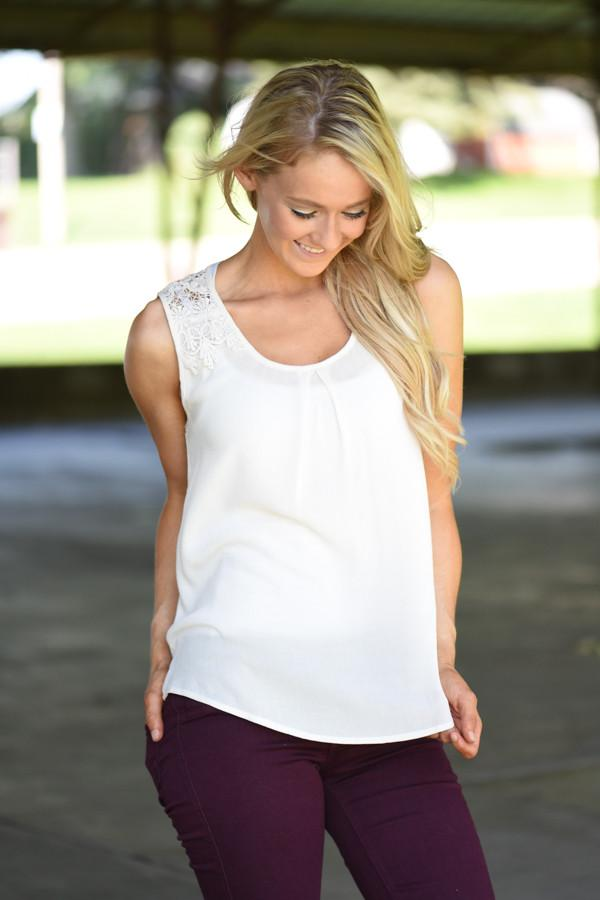 Cream Detail Tank - Sweet Wanderer