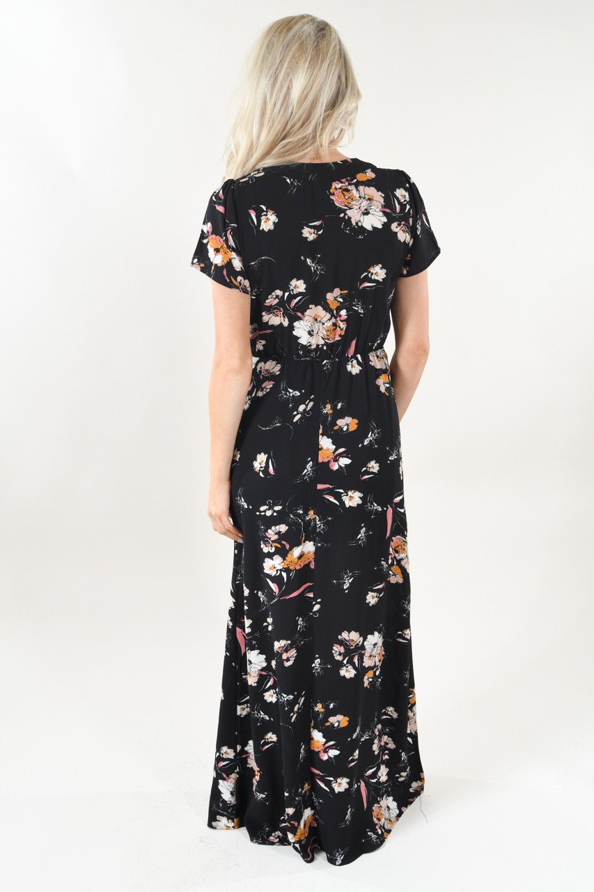 Short Sleeve Black Floral Maxi Dress